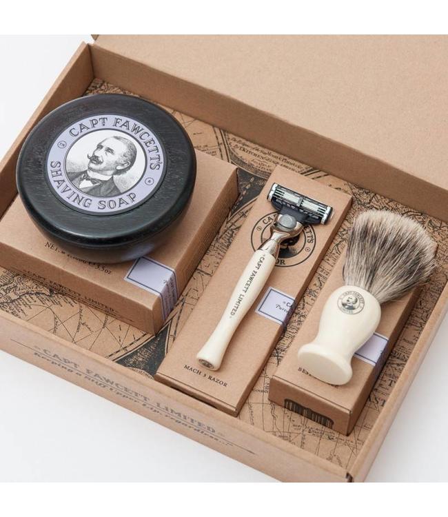 Captain Fawcett Shaving Brush, Razor & Shaving Soap Gift Set