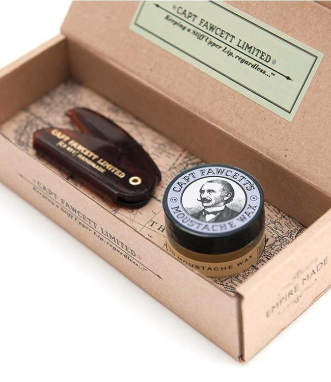 Captain Fawcett Moustache Wax / Comb Set - Lavender
