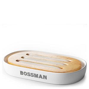 Bossman Zeep bakje - Caramic & Bamboo - wit