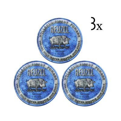 Blue Strong Hold Pomade 3-pack