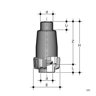 Huismerk Voetklep voor buffertank 50mm