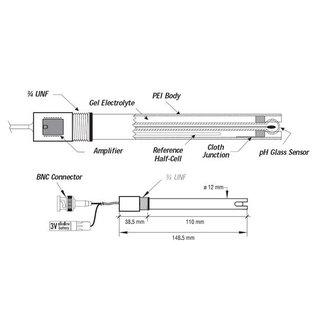 Hanna Instruments Platina ORP elektrode met BNC connectie