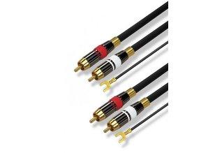 High Quality Phonokabel, 2x tulp naar 2x tulp + aardekabel (1,5m)