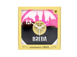 Vinylclock with landmarks from DJ city Breda (limited edition pink)