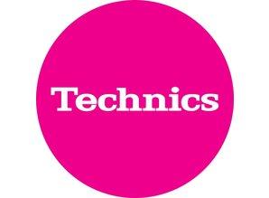 Technics Logo White on Pink Slipmats, proffessional quality by Magma