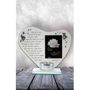Waxinehouder hart met gedicht: Ouders