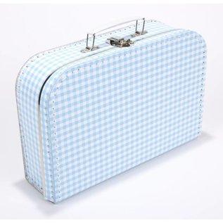 Koffertje ruitjes babyblauw
