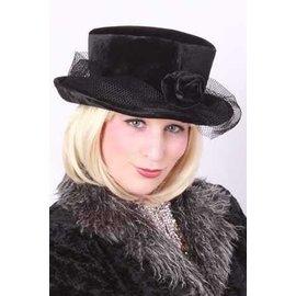 Bolle hoed met roos zwart