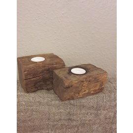 Oud houten theelichtjes