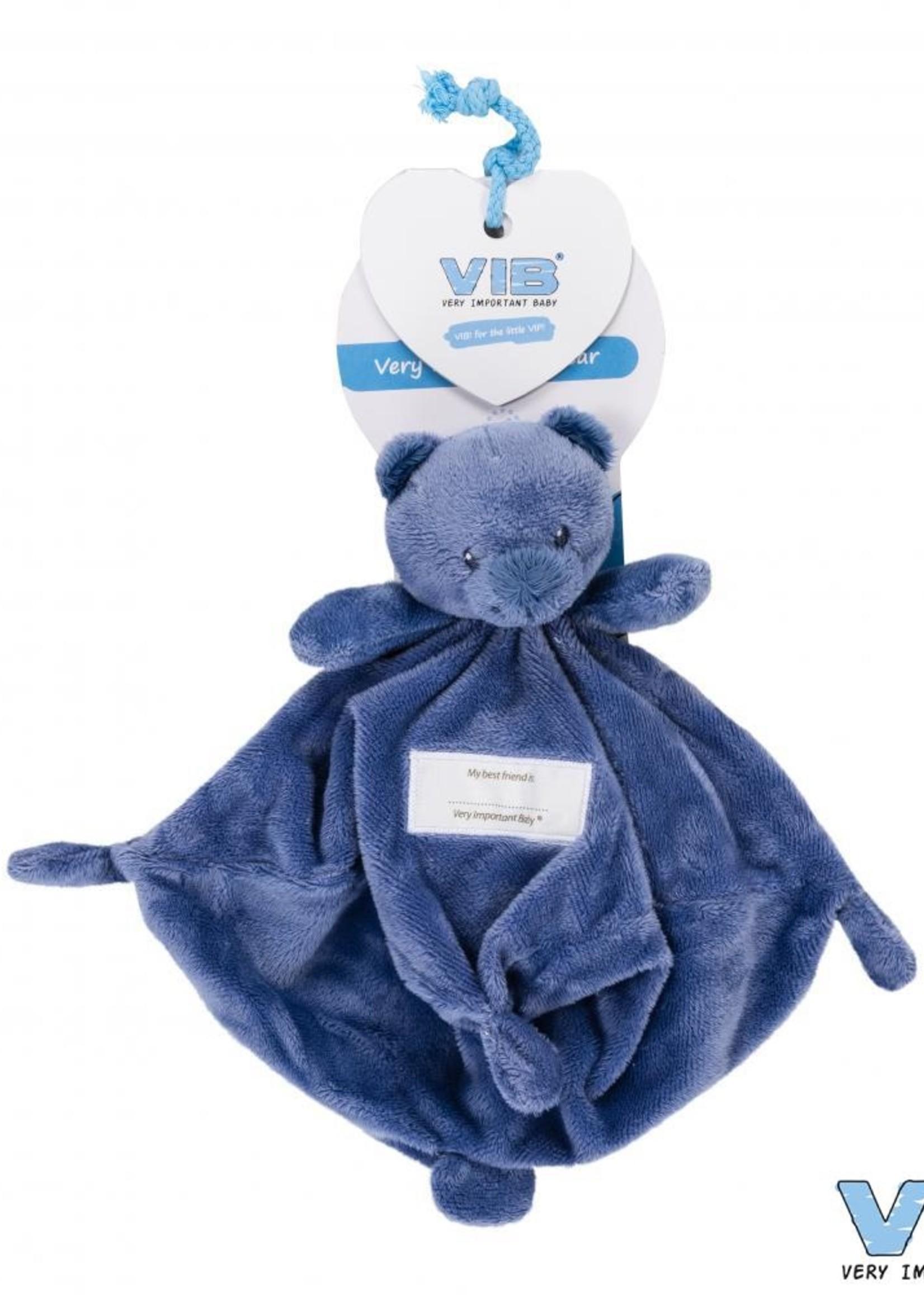 VIB  Knuffeldoekje met berenhoofd blauw