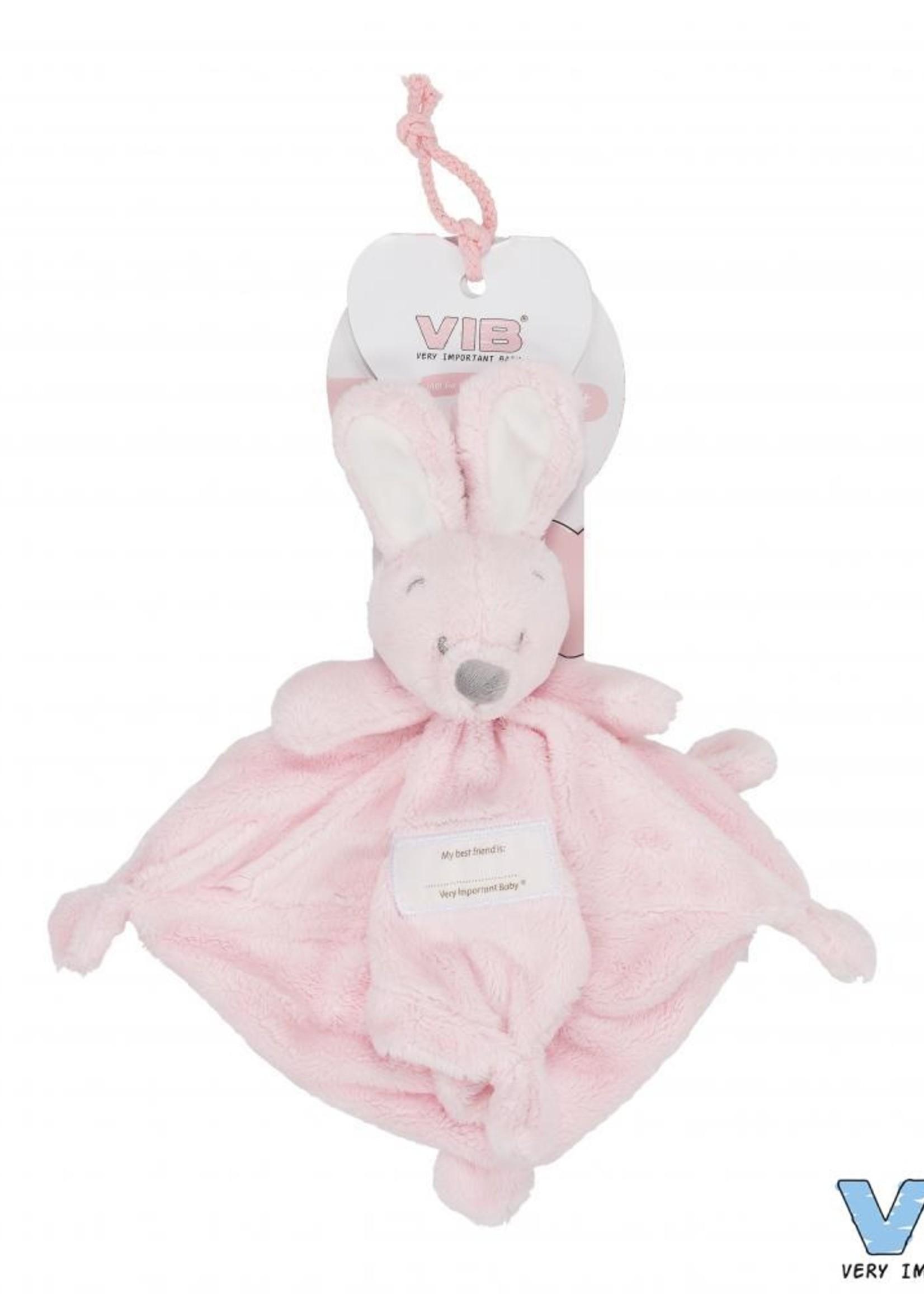 VIB Knuffeldoekje met konijnenhoofd roze