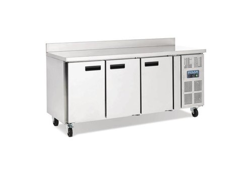 Polar Polar Stainless steel workbench 3-door cooling with flap edge