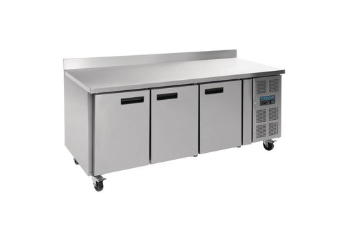 Polar Stainless steel 3-door workbench freezer with splash edge | 417L