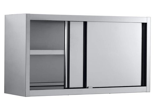 Combisteel Stainless steel Wall cabinet with sliding doors 140x40x65 cm