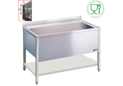 HorecaTraders Washbasin Stainless steel with 1 sink in the middle | 136x50x40 cm