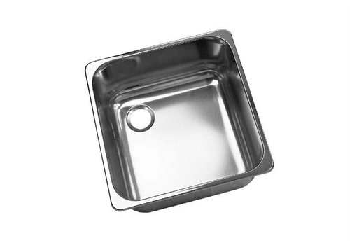 HorecaTraders Square stainless steel built-in sink without overflow