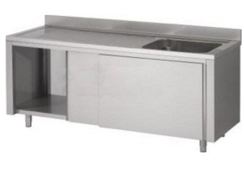 HorecaTraders Stainless steel sink with sliding doors | 120x60x90 cm