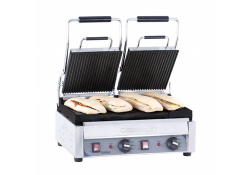 Casselin Double ribbed contact grill | 445 x 242mm