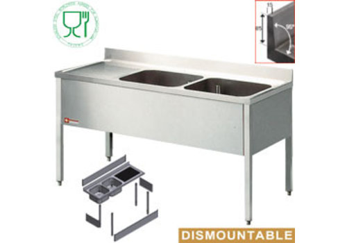 Diamond Stainless Steel Sink with two sinks Right | 160x70x88cm