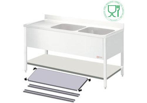 Diamond Edelstahl-Regal für Wasch- oder Spülbecken | 160x70x4cm