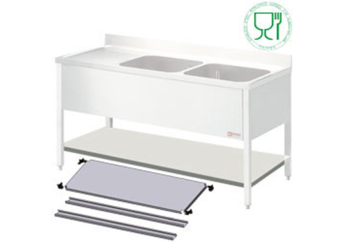 Diamond Stainless steel shelf for Sink | 160x70x4cm