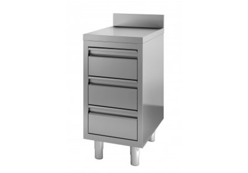 Combisteel Stainless steel chest of drawers | 3 drawers | 40 x 70 x 85 cm | With splashback