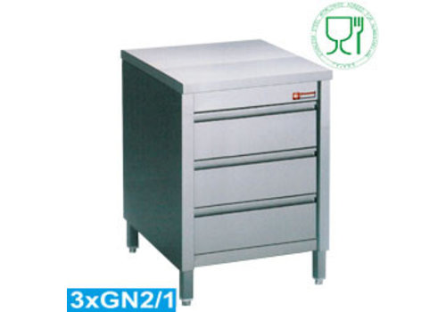 Diamond Stainless steel commode | 3 drawers | 60 x 70 x 88/90 cm