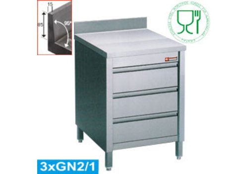 Diamond Ladenkast RVS | 3 laden | 60 x 70 x 88/90 cm | met spatrand