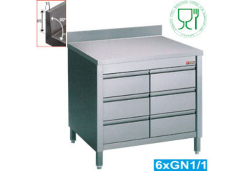 Diamond Stainless steel commode | 3 drawers | 80 x 70 x 88/90 cm | with backsplash
