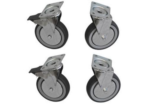 Diamond 4 zwenkwielen kit voor kast   2 met rem