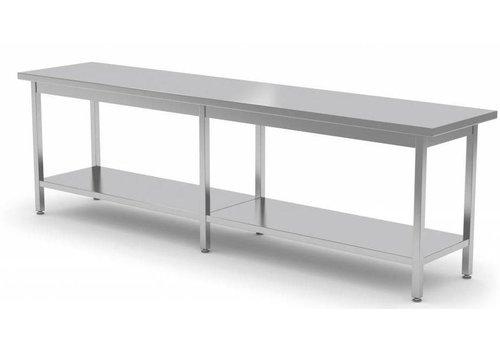 Combisteel Lange Edelstahl-Arbeitstisch mit unter Regal   80cm Tiefe   4 Größen