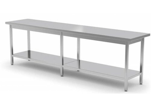 Combisteel Long stainless steel work table with shelf | 80 cm Deep | 4 Formats