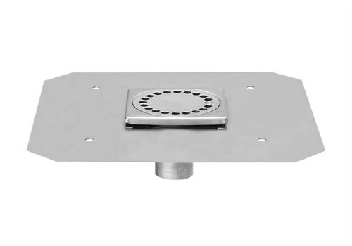HorecaTraders Stainless steel Floor Drain 100 x 100 mm Telescopic Outlet 40 mm