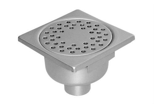 HorecaTraders Stainless steel Floor Drain 150 x 150 mm Vertical Drain 50 mm