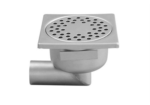 HorecaTraders Stainless steel Floor Drain 150 x 150 mm Lateral Drain 50 mm