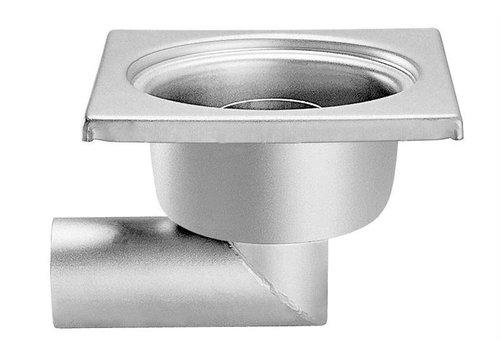 HorecaTraders Edelstahl Bodenablauf 200 x 200 mm 63 mm Seitiger Ablass