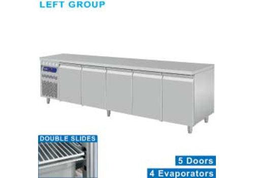 Diamond Stainless steel Refrigerated Workbench | Deurs 5 - 253 x 70 x 85/90 cm