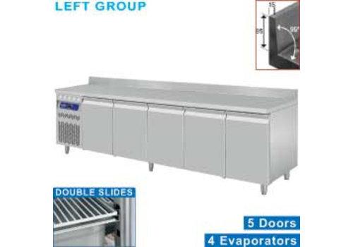 Diamond Stainless steel Refrigerated Workbench With Splash Edge | Deurs 5 - 253 x 70 x 85/90 cm