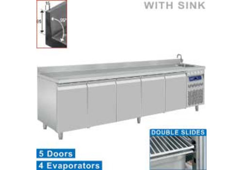 Diamond Stainless steel refrigerated workbench with flattening and sink