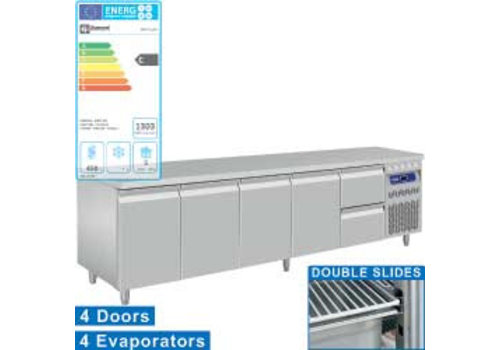 Diamond Stainless steel Refrigerated Workbench With Splash Edge | 4 doors and drawers 2 - 253 x 70 x 85/90 cm