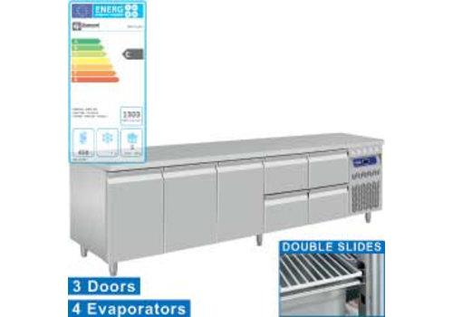 Diamond Edelstahl-Kühlwerkbank mit Splash Rand | Türen 3 und 4, Schubladen