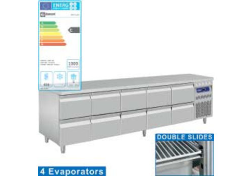 Diamond Stainless steel Refrigerated Workbench With Splash Edge | Drawers 10 - 253 x 70 x 85/90 cm
