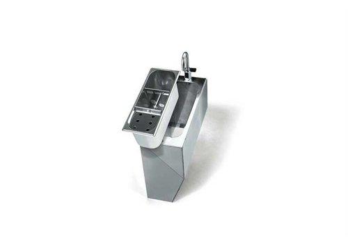 HorecaTraders Edelstahlgehäuse - Inklusive Wasserhahn Versorgung mit Hebeln