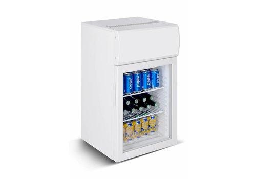 HorecaTraders Small Fridge with Light Box and Glass Door | White | 50 liters