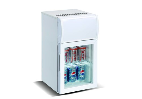 HorecaTraders Small refrigerator with light box White 20 liters