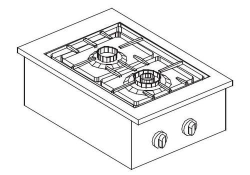 Combisteel Inbouw gas kookunit roestvrijstaal | 2 pits