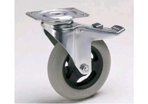 HorecaTraders Swivel castors with pneumatic tires and brake Ø 125 mm