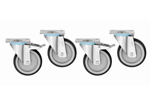 Bartscher Swivel gear set 4 pieces | 2 with brake