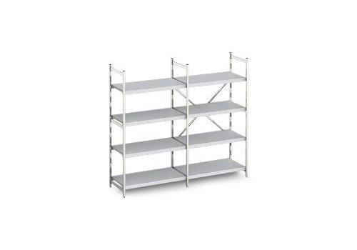 Hupfer Aluminum rack with solid shelves 40 cm deep 10 formats