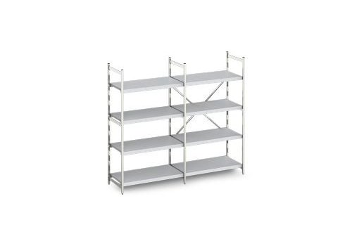 Hupfer Aluminum rack with solid shelves 60 cm deep 10 formats